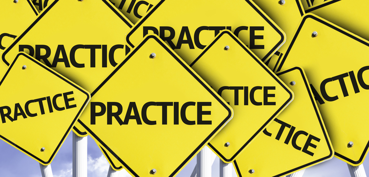 Practice written on multiple road sign
