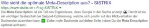 Keyword / Wie sieht eine optimale Meta-Description aus?