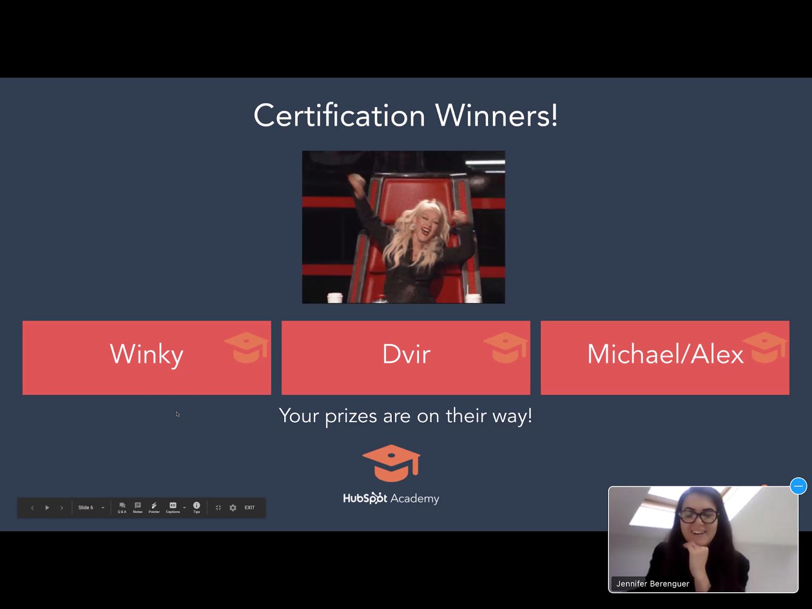 screenshot certificate Hubspot
